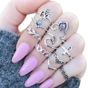Ten Pieces Rhinestone And Crystal Rings Set