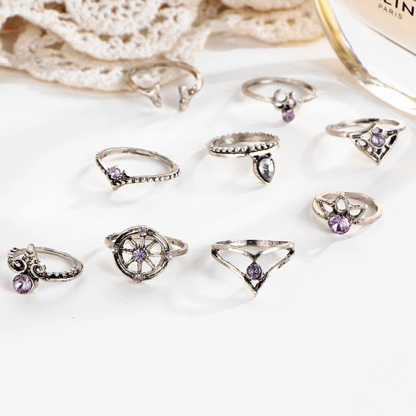 Nine Pieces Bohemian Purple Crystal Rings Set