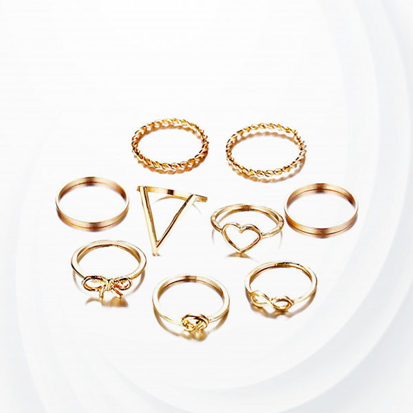 Gold Plated Nine Pieces Women Rings Set