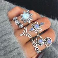 Carved Rhinestone Six Pieces Fashion Rings Set