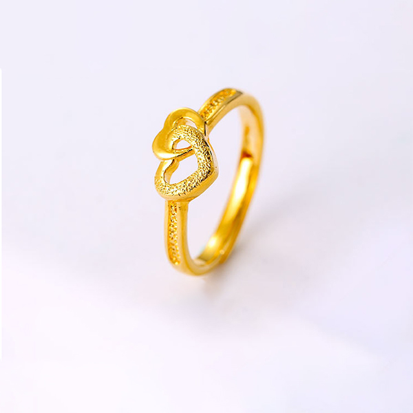 Duo Hearts Gold Plated Engagement Ring