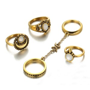 Vintage Gold Color Antique 5 Rings Set For Boho Women