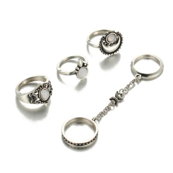 Vintage Silver Color Antique 5 Rings Set For Boho Women