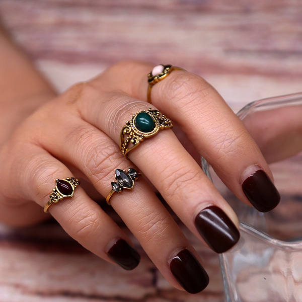 Bohemian Rhinestone Four Pieces Rings Set