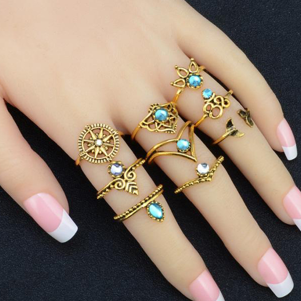 Engraved Casual Wear Bohemian Rings Set - Golden