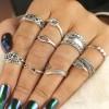 Engraved Casual Wear Bohemian Rings Set - Silver