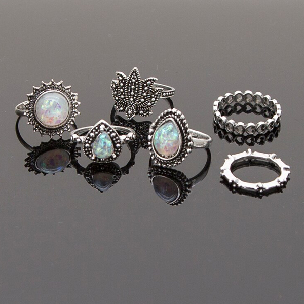 Casual Wear Six Pieces Bohemian Rings Set - Silver