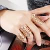Bohemian Gold Plated Wedding Wear Bracelet Rings Set