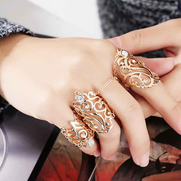 Bohemian Gold Plated Wedding Wear Bracelet Rings Set