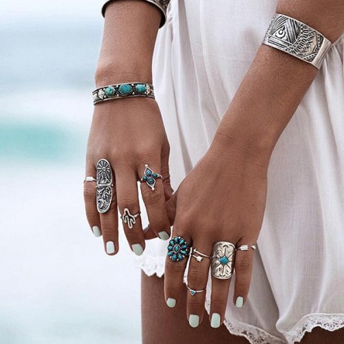 Carved Bohemian Nine Pieces Rings Set