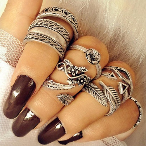 Multi Design Elegant Silver Plated Nine Rings Set