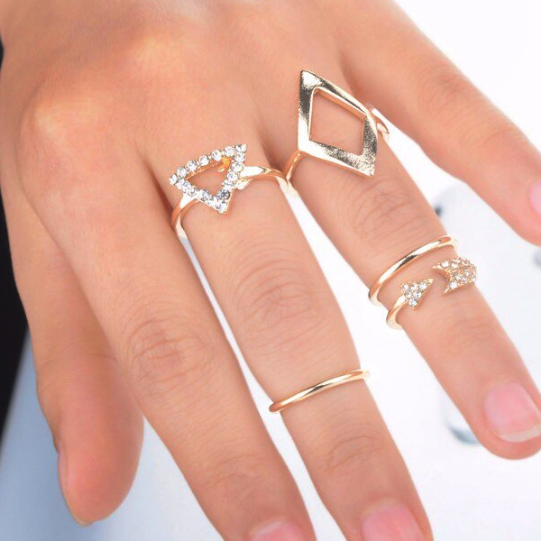 Crystal Five Pieces Geometric Rings Set - Golden