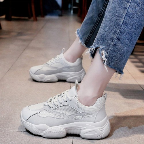Laced Up Thick Bottom Casual Sports Sneakers - White