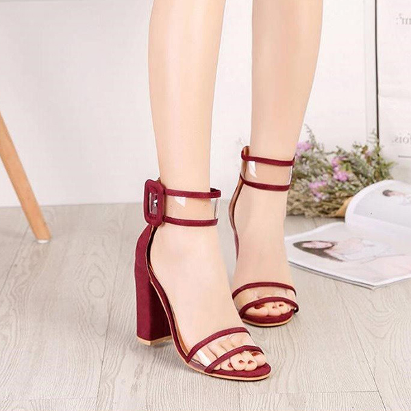 High Heels Strapped Up Buckle Sandals - Red
