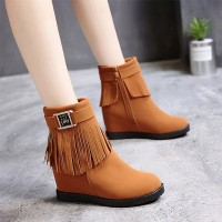 Tassel Buckle Belt Vintage Special Boots - Brown