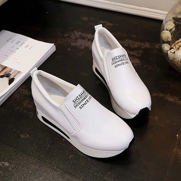 Thick Bottom Synthetic Leather Casual Shoes - White