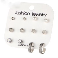 Crystal Patched Six Pairs Ear Jewllery Tops Set - Silver