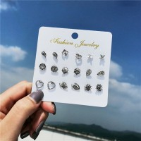 Engraved Bohemian Nine Pairs Women Ear Tops Set - Silver