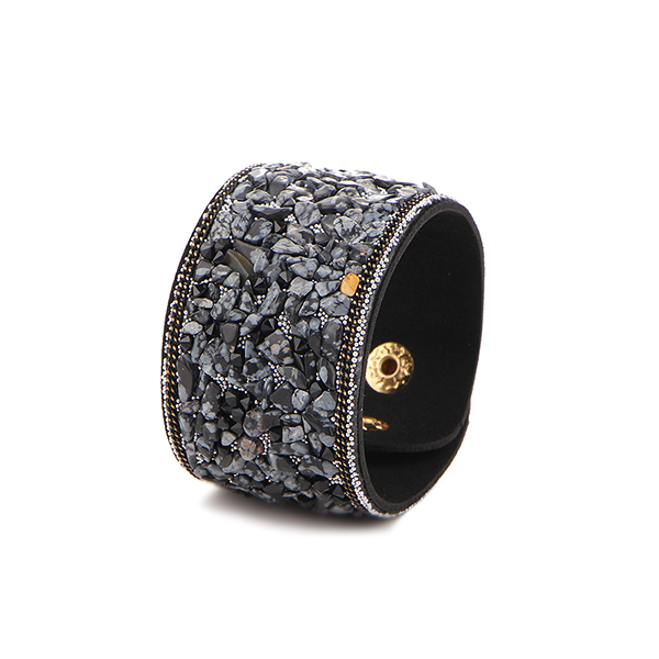 Punk Style Stone Fashion Bangles Bracelets Black