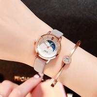Leather Strappy Casual Wear Wrist Watch - Grey