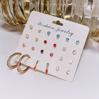 Crystal Colorful Twelve Pairs Party Special Ear Tops Set - Multicolor