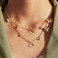 Butterfly Pendant Gold Plated Chain Necklace - Golden