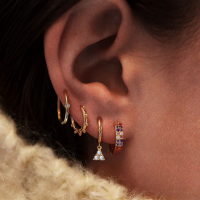 Four Pieces Crystals Patched Women Fashion Earrings Set