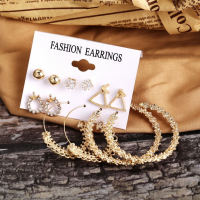 Six Pieces Women Fashion Crystal Decorative Party Earrings Set