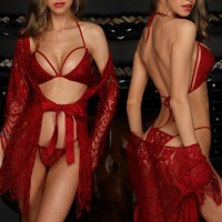 Three Pieces Laced Up Intimate Nightwear Lingerie Sets - Red