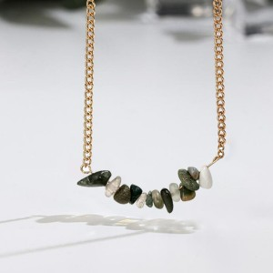 Multi-color Natural Opal Stone Choker Necklace Green