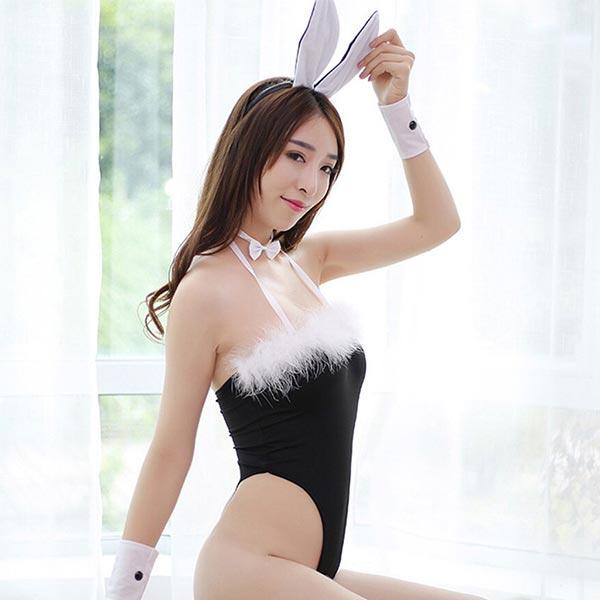 Hair Hoop Wrist Protector Underwear Fluffy Body Suit - Black