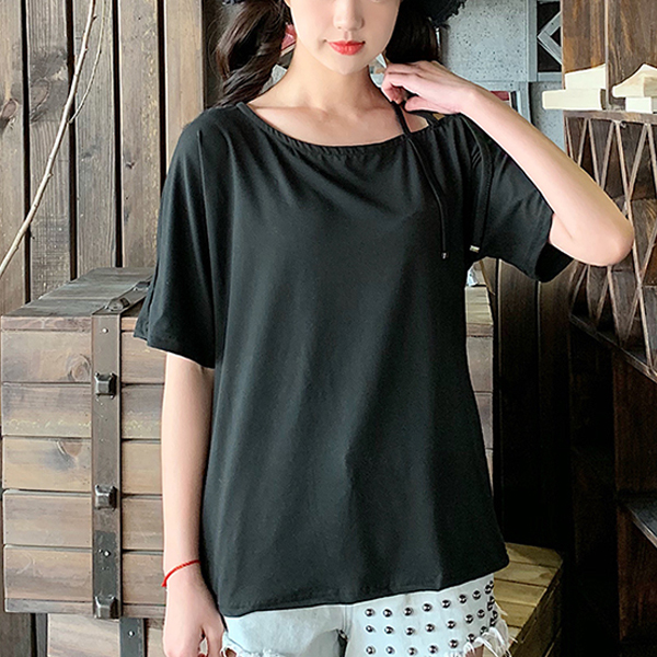 Fancy Strap Design Short Sleeves T-Shirt - Black