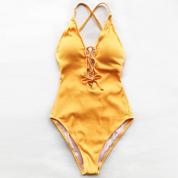 Cross Halter Slim Summer Beach Swimwear - Yellow