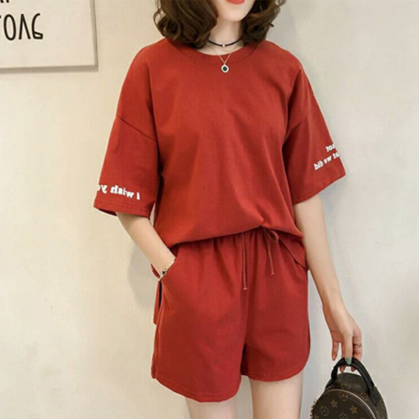 Loose Solid T-Shirt With Shorts Two Pieces Suit - Red