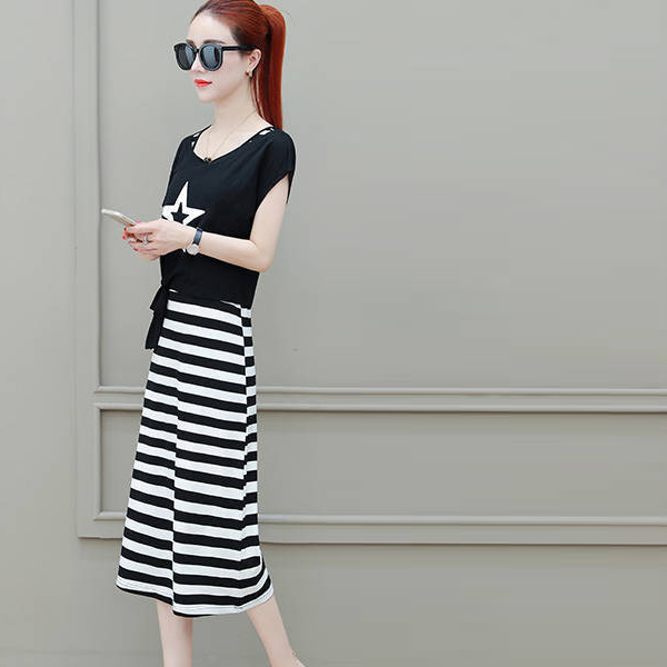 Midi Dress With Knotted Waist Casual Top - Thick Stripes
