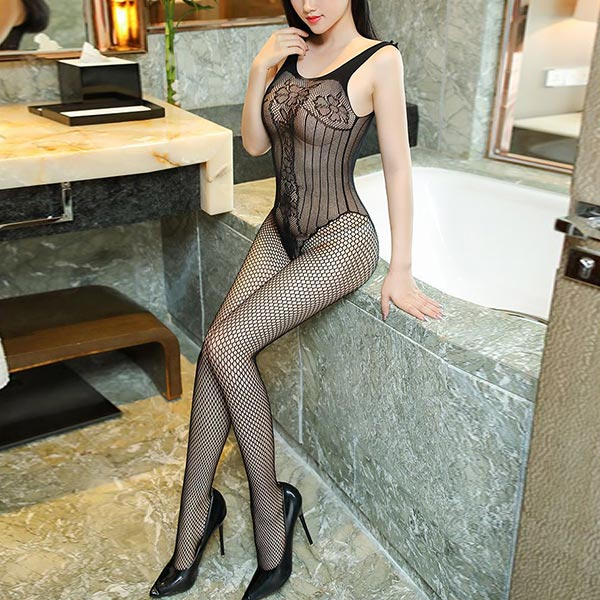 Hollow Floral See Through Body Stocking - Black