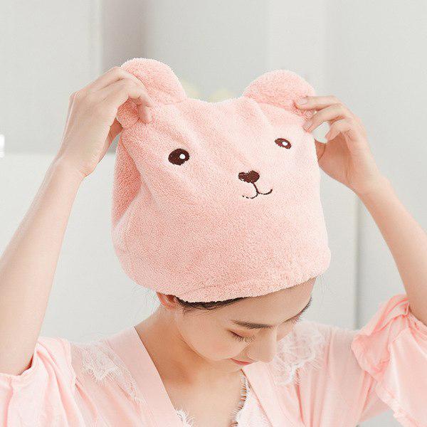 Hair Dryer Polyester Women After Bath Towel Cap - Pink