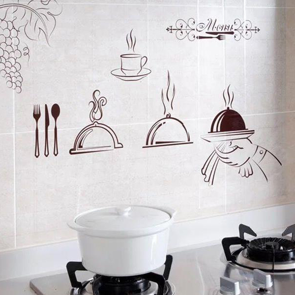 Oil And Temperature Resistant Wall Sticker - Dishes