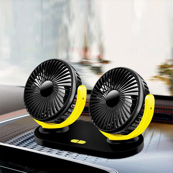 Portable Double Head USB Fan - Yellow