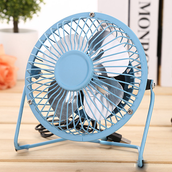 Metal Desktop Mini USB Fan - Blue