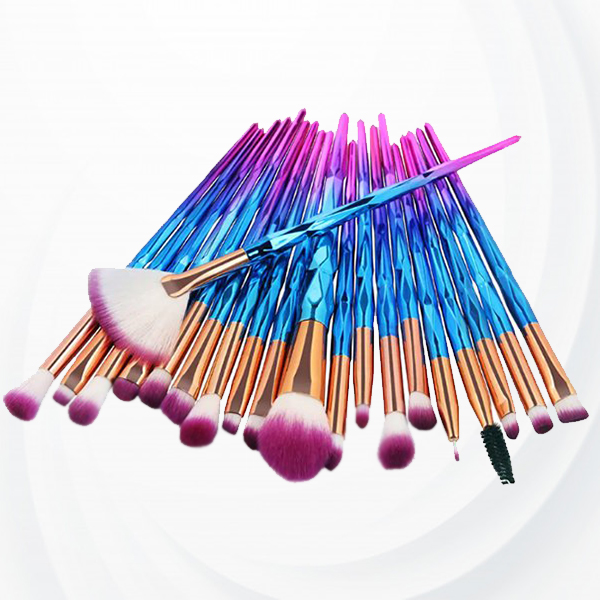 Twenty Pcs Gradient Pattern Makeup Brushes Set - Blue