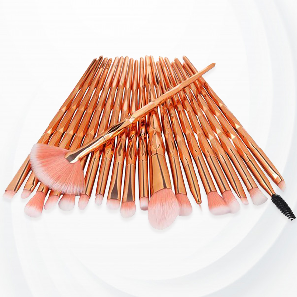 Twenty Pcs Gradient Pattern Makeup Brushes Set - Golden