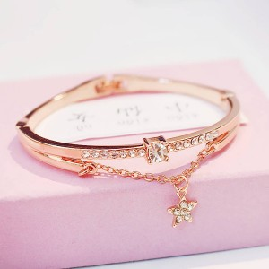 Gold Plated Crystal Star Bangle Bracelet