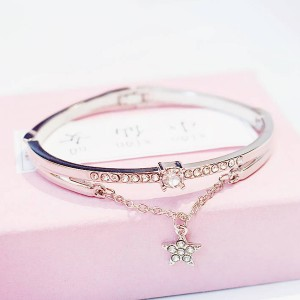 Silver Plated Crystal Star Bangle Bracelet