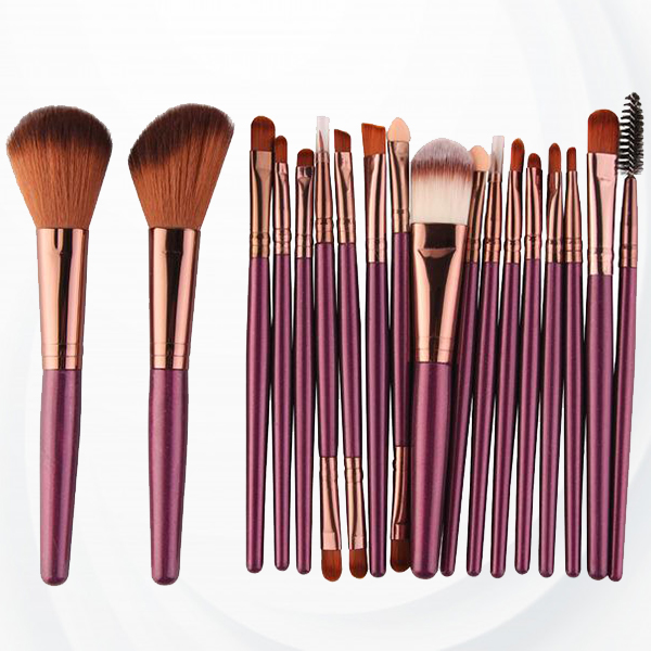 18 PCs Professional Makeup Brushes Set - Purple