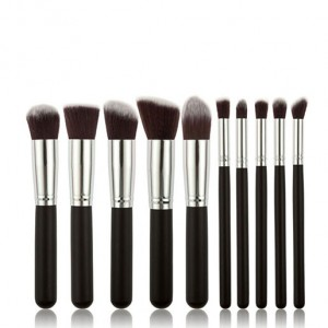 Professional 10 Pcs Kabuki Makeup Brush Set Black and Silver