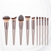 Elegant Ten Pieces Wooden Handle Brushes - Golden
