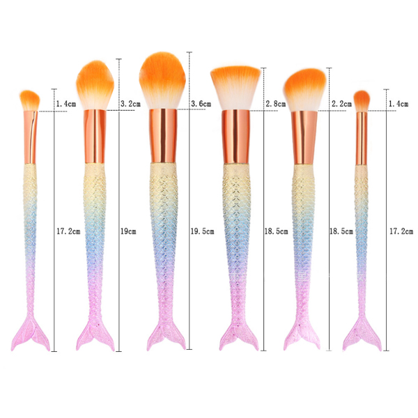 Fish Patterned Six Pieces Rainbow Makeup Brushes For Women