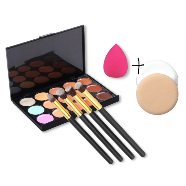 Fine Quality Four Brushes Set With Concealer and Puffs