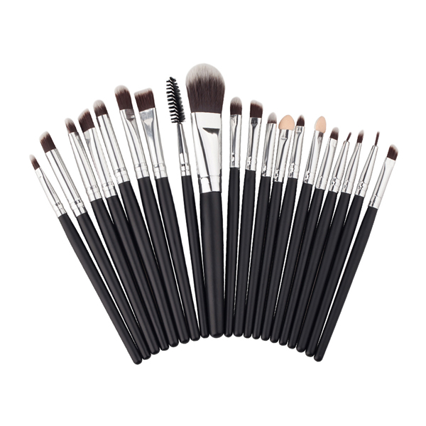 Twenty Pcs Best Professional Makeup Brushes Set Black Silver